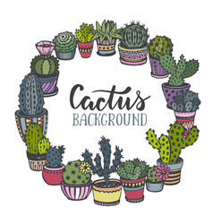 Frame with hand drawn cactus in sketch style vector