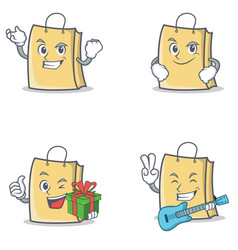 Set of bag character with successful smirking gift vector
