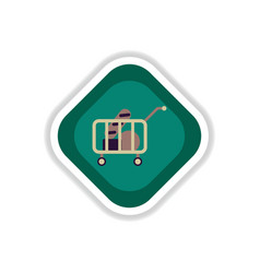 Paper sticker on white background shop cart with vector