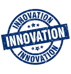 Innovation blue round grunge stamp vector