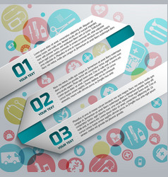 Paper text ribbons at medical background vector
