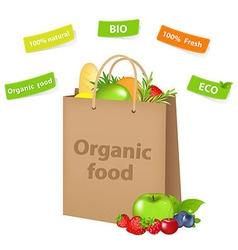 Bag with organic food vector