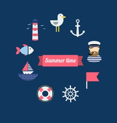 Sea theme in flat design vector image