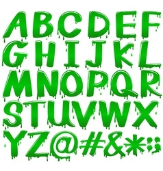 Letters of the alphabet in a melting green vector