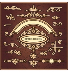 Set of decorative elements in vintage style for vector