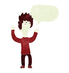 Cartoon vampire giving up with speech bubble vector