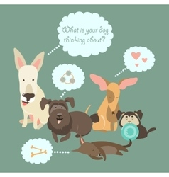 Funny mixed breed dogs with speech bubble vector