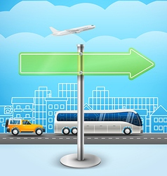 Blank glass arrow board city trafic template for vector