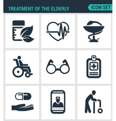 Set modern icons treatment the elderly vector