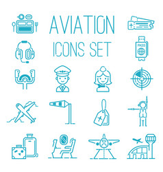 aviation icons set airline graphic vector image