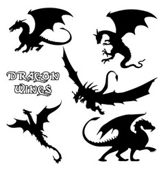 Black stylized dragons vector