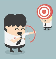Businessman shooting target with a bow eps10 vector