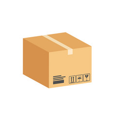 Cardboard box parcel symbol flat isometric icon vector