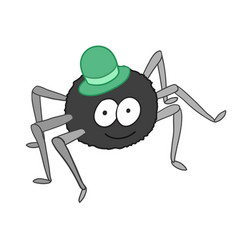 cartoon cute spider in hat isolated on white vector image vector image