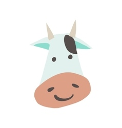 cartoon flat cow face mascot icon vector image vector image
