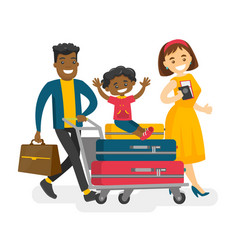 Cheerful multicultural family traveling abroad vector