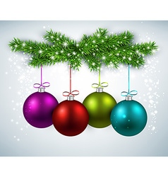 Christmas balls with fir branches vector image