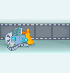 cinema movie horizontal banner film cartoon style vector image