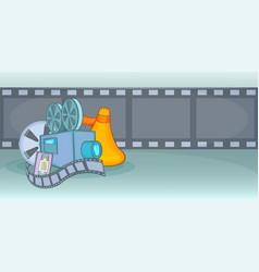 Cinema movie horizontal banner film cartoon style vector