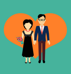 Couple in love banner flat design vector