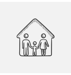 Family house sketch icon vector image vector image