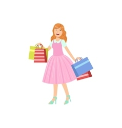 Girl buying clothes in shopping mall vector