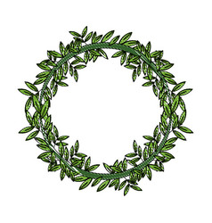 green laurel wreaths round for emblem vector image
