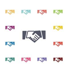 Handshake flat icons set vector