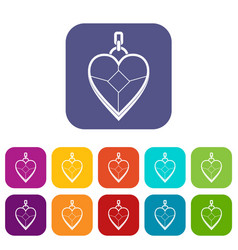 Heart shaped pendant icons set flat vector