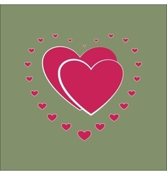 Heart small around two pink heard card vector