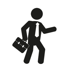 Isolated businessman pictogram and suitcase design vector