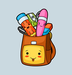 kawaii school backpack with cute education vector image