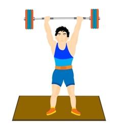 Man athlete raises barbell vector image