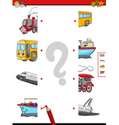 match the halves of vehicle characters vector image