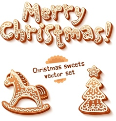 Merry christmas gingerbread sign horse and trees vector