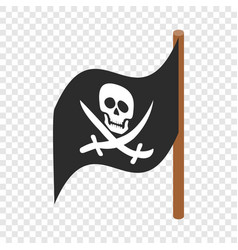 Pirate flag isometric icon vector