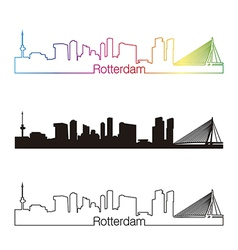 Rotterdam skyline linear style with rainbow vector