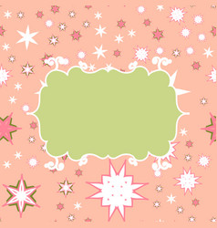 Scrapbooking green on pink template with place for vector