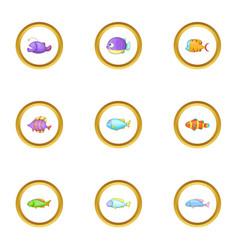 sea fish icons set cartoon style vector image