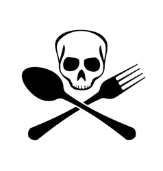 Sign of spoons forks and skull vector image vector image