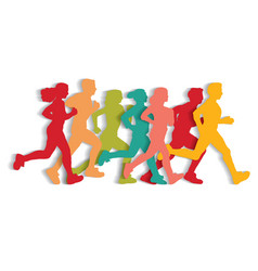sport running people cutout flat silhouette vector image