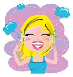 Woman laughting vector image vector image