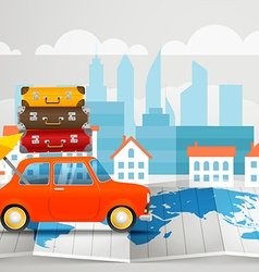 World map with the car infographic elements Summer vector image vector image