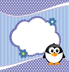 Banner for children with penguin in blue animal vector