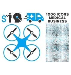 Copter icon with 1000 medical business pictograms vector