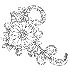 Flower coloring for adults vector