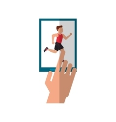 Isolated runner man and smartphone design vector