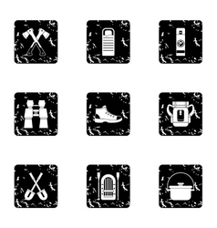 Camp icons set grunge style vector