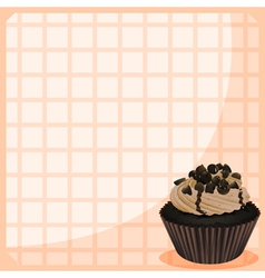 A chocolate cupcake in a frame vector
