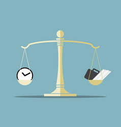 Time and work on balance scale vector